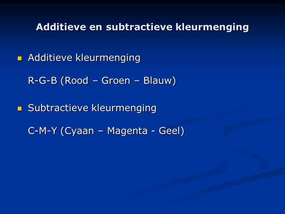 Additieve en subtractieve kleurmenging  Additieve kleurmenging R-G-B (Rood – Groen – Blauw)  Subtractieve kleurmenging C-M-Y (Cyaan – Magenta - Geel)
