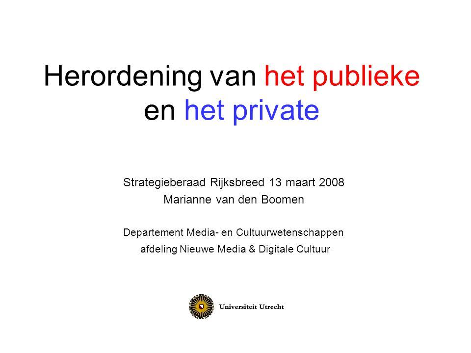 Herordening van het publieke en het private Strategieberaad Rijksbreed 13 maart 2008 Marianne van den Boomen Departement Media- en Cultuurwetenschappe