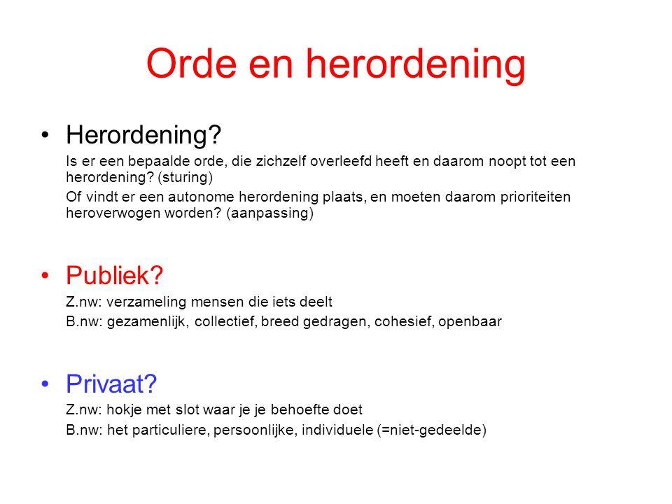 Orde en herordening •Herordening? Is er een bepaalde orde, die zichzelf overleefd heeft en daarom noopt tot een herordening? (sturing) Of vindt er een