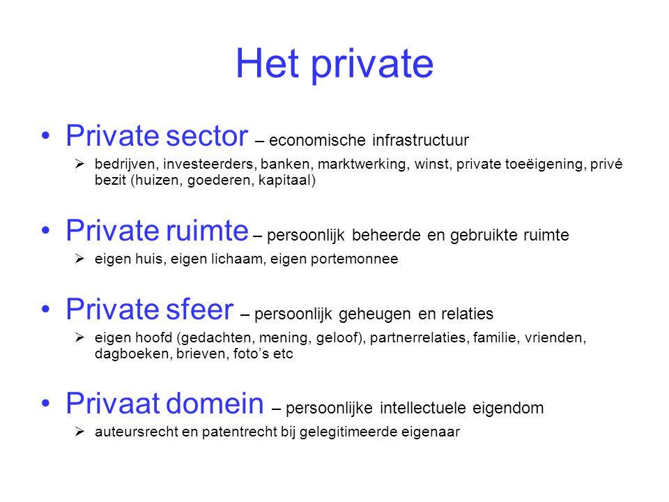 Het private •Private sector – economische infrastructuur  bedrijven, investeerders, banken, marktwerking, winst, private toeëigening, privé bezit (hu