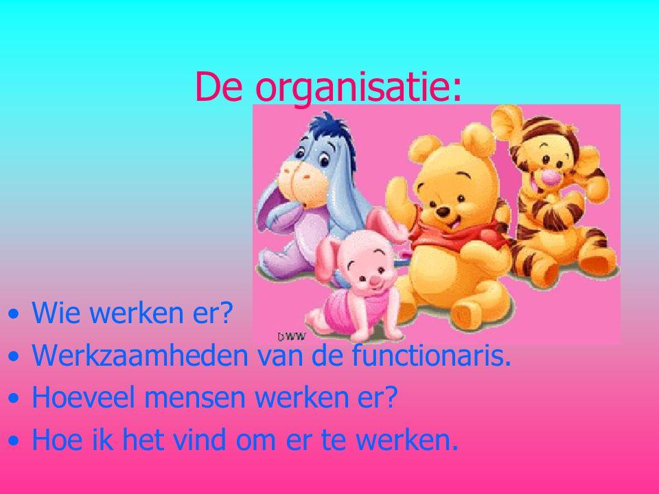 De organisatie: •Wie werken er.•Werkzaamheden van de functionaris.