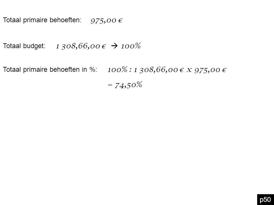 p50 975,00 € Totaal primaire behoeften: Totaal budget: 1 308,66,00 €  100% Totaal primaire behoeften in %: 100% : 1 308,66,00 € x 975,00 € = 74,50%