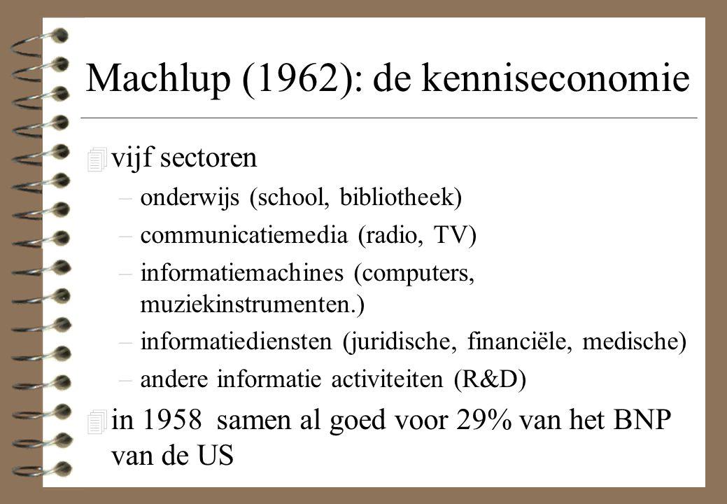 Machlup (1962): de kenniseconomie 4 vijf sectoren –onderwijs (school, bibliotheek) –communicatiemedia (radio, TV) –informatiemachines (computers, muzi