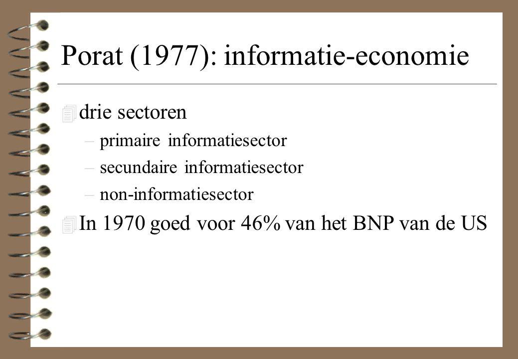 Porat (1977): informatie-economie 4 drie sectoren –primaire informatiesector –secundaire informatiesector –non-informatiesector 4 In 1970 goed voor 46