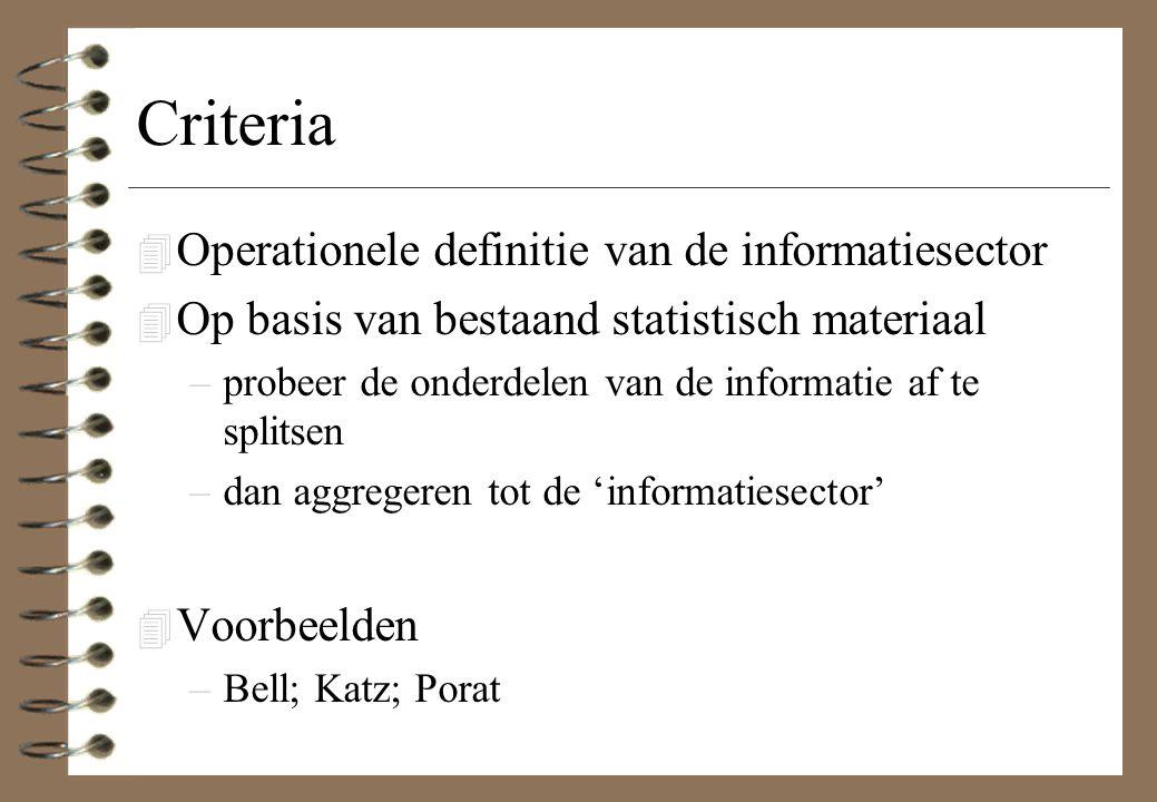Criteria 4 Operationele definitie van de informatiesector 4 Op basis van bestaand statistisch materiaal –probeer de onderdelen van de informatie af te