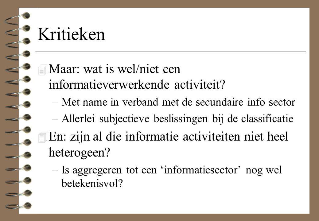 Kritieken 4 Maar: wat is wel/niet een informatieverwerkende activiteit? –Met name in verband met de secundaire info sector –Allerlei subjectieve besli