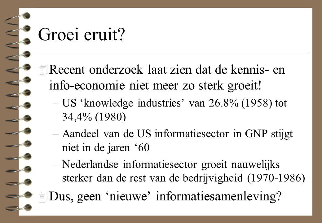 Groei eruit? 4 Recent onderzoek laat zien dat de kennis- en info-economie niet meer zo sterk groeit! –US 'knowledge industries' van 26.8% (1958) tot 3