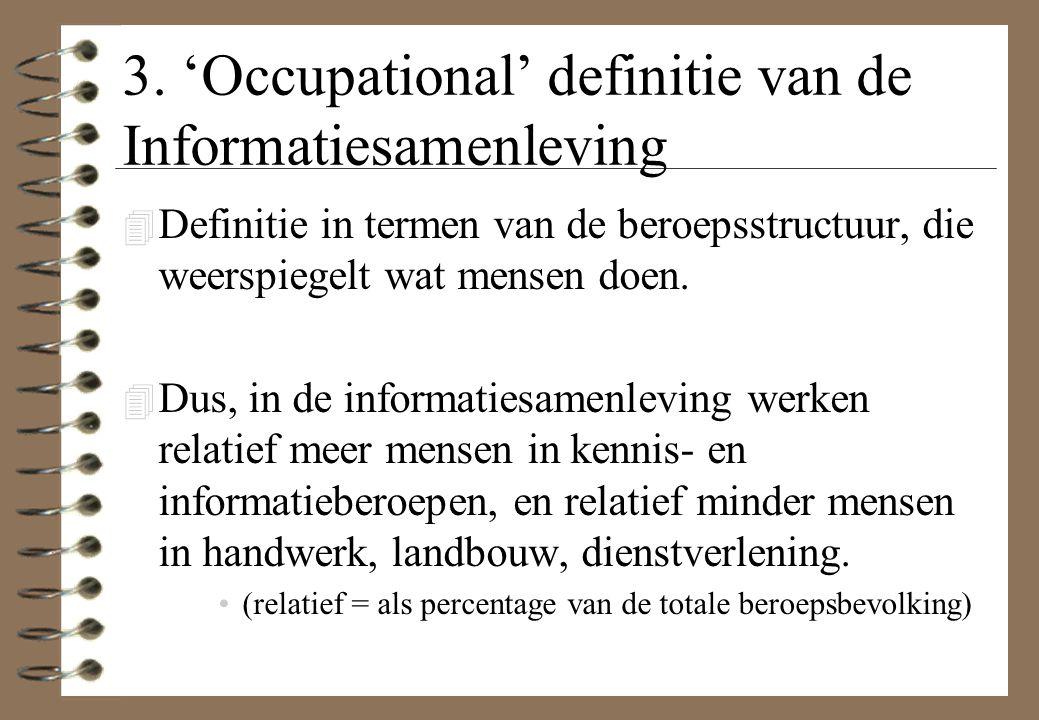 3. 'Occupational' definitie van de Informatiesamenleving 4 Definitie in termen van de beroepsstructuur, die weerspiegelt wat mensen doen. 4 Dus, in de