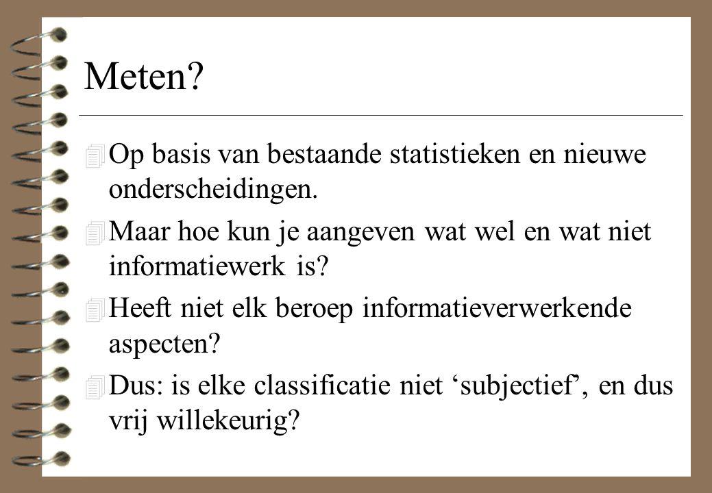 Meten? 4 Op basis van bestaande statistieken en nieuwe onderscheidingen. 4 Maar hoe kun je aangeven wat wel en wat niet informatiewerk is? 4 Heeft nie