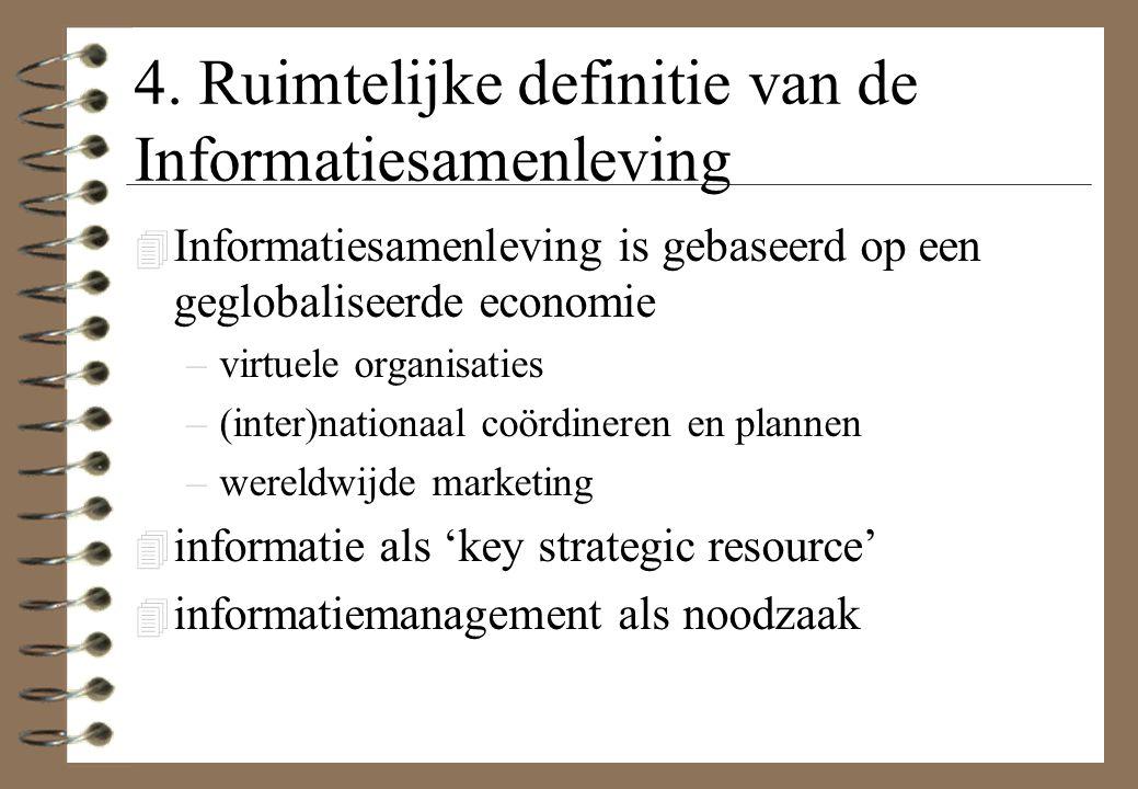 4. Ruimtelijke definitie van de Informatiesamenleving 4 Informatiesamenleving is gebaseerd op een geglobaliseerde economie –virtuele organisaties –(in