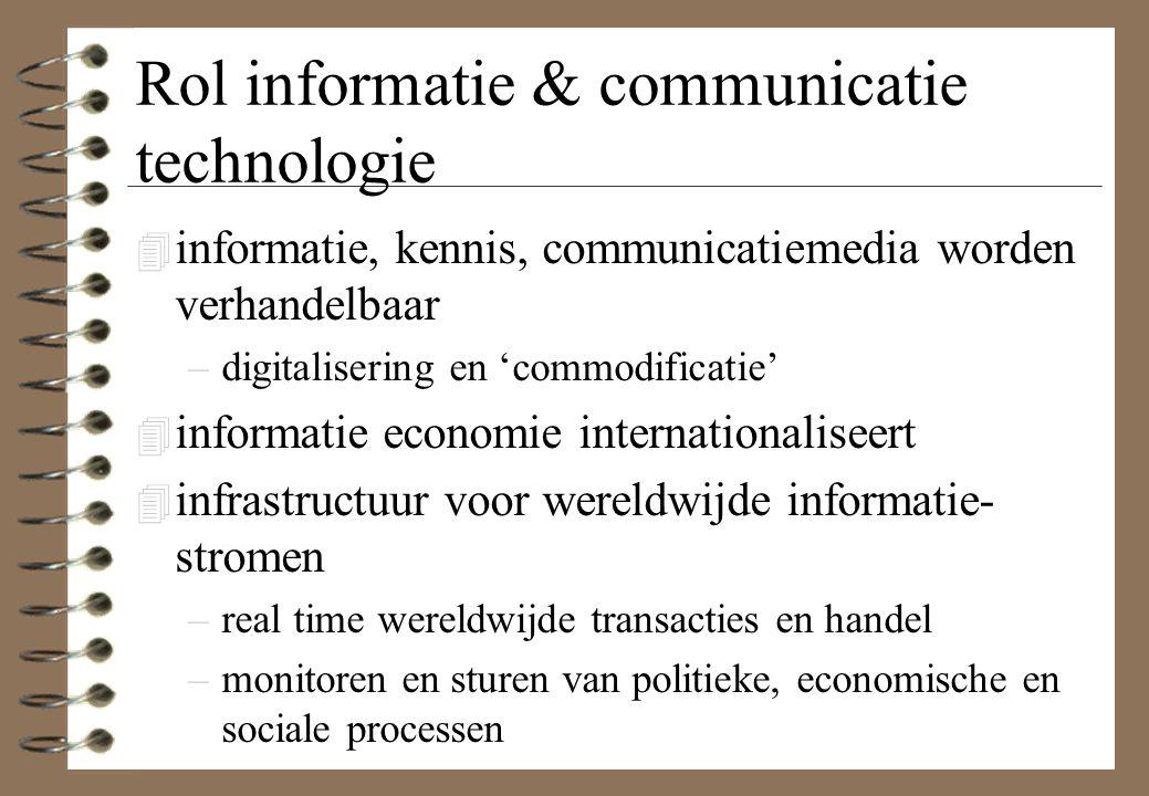 Rol informatie & communicatie technologie 4 informatie, kennis, communicatiemedia worden verhandelbaar –digitalisering en 'commodificatie' 4 informati