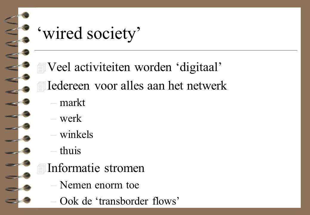 'wired society' 4 Veel activiteiten worden 'digitaal' 4 Iedereen voor alles aan het netwerk –markt –werk –winkels –thuis 4 Informatie stromen –Nemen e