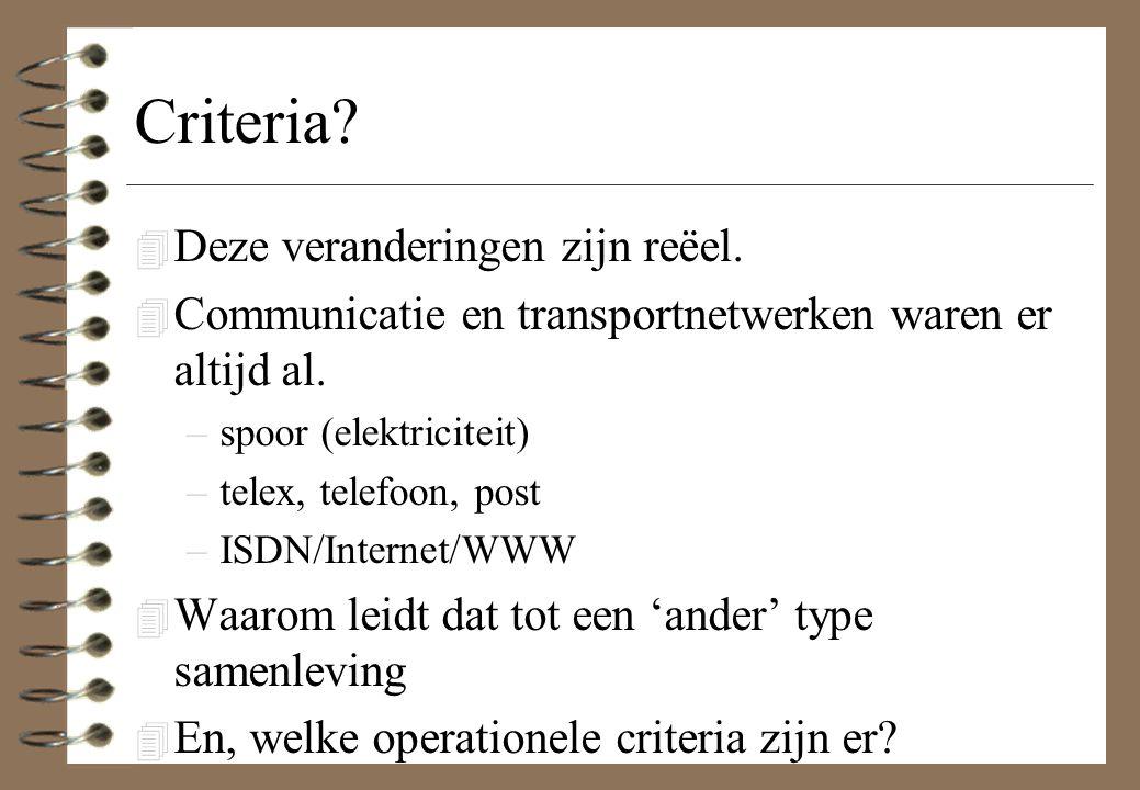 Criteria? 4 Deze veranderingen zijn reëel. 4 Communicatie en transportnetwerken waren er altijd al. –spoor (elektriciteit) –telex, telefoon, post –ISD