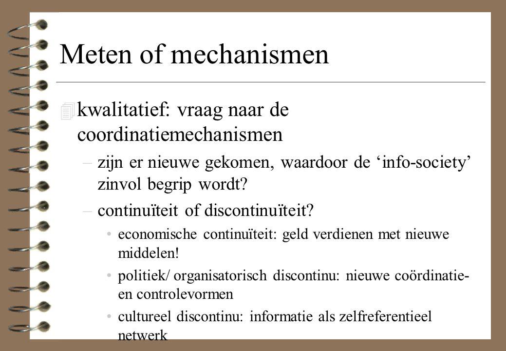 Meten of mechanismen 4 kwalitatief: vraag naar de coordinatiemechanismen –zijn er nieuwe gekomen, waardoor de 'info-society' zinvol begrip wordt? –con