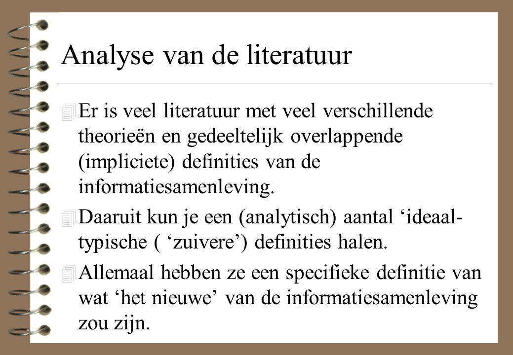 Analyse van de literatuur 4 Er is veel literatuur met veel verschillende theorieën en gedeeltelijk overlappende (impliciete) definities van de informa
