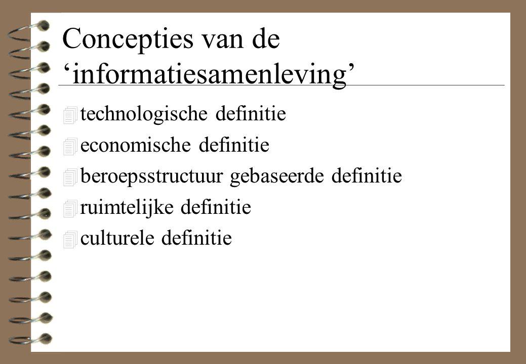 Concepties van de 'informatiesamenleving' 4 technologische definitie 4 economische definitie 4 beroepsstructuur gebaseerde definitie 4 ruimtelijke def