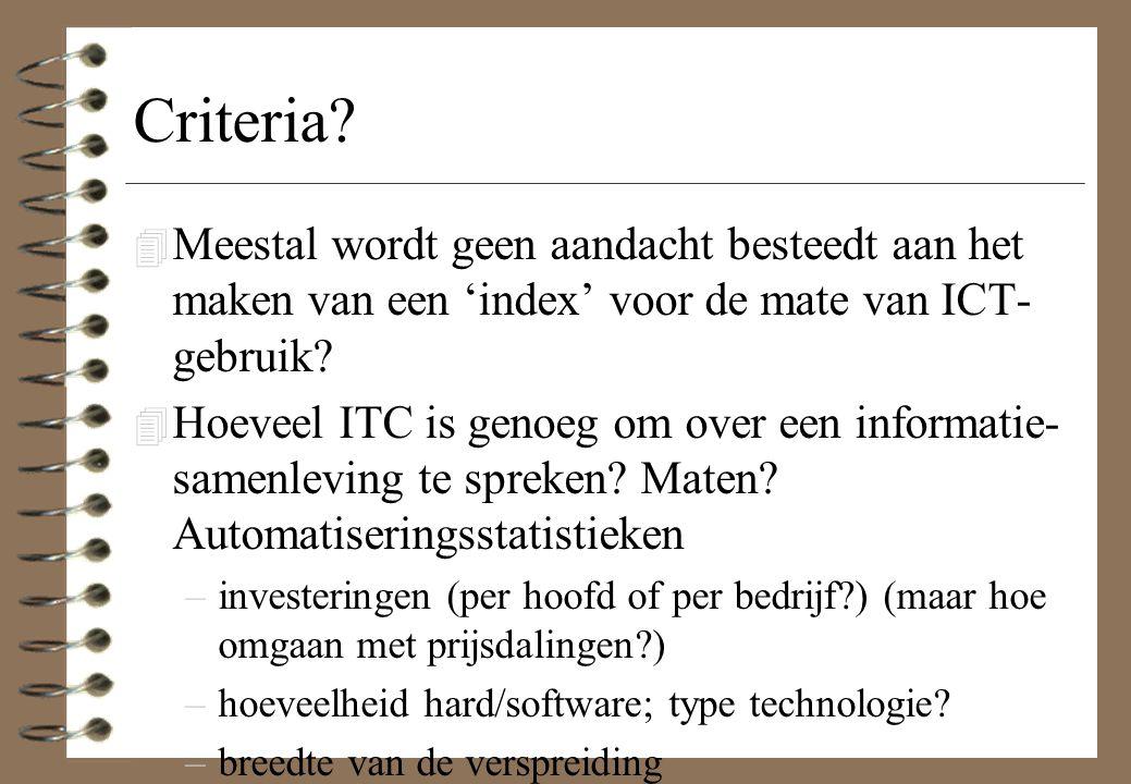 Criteria? 4 Meestal wordt geen aandacht besteedt aan het maken van een 'index' voor de mate van ICT- gebruik? 4 Hoeveel ITC is genoeg om over een info