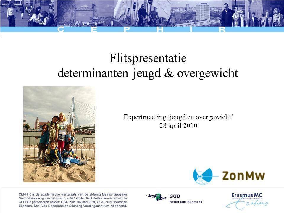 1 Flitspresentatie determinanten jeugd & overgewicht Expertmeeting 'jeugd en overgewicht' 28 april 2010
