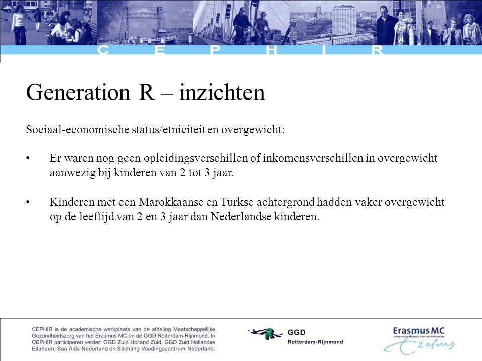 6 Generation R – inzichten Sociaal-economische status/etniciteit en overgewicht: •Er waren nog geen opleidingsverschillen of inkomensverschillen in ov