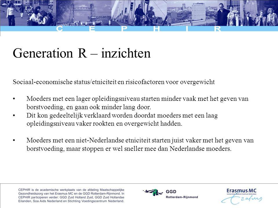 7 Generation R – inzichten Sociaal-economische status/etniciteit en risicofactoren voor overgewicht •Moeders met een lager opleidingsniveau starten mi
