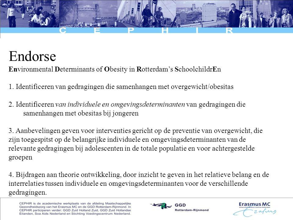 8 Endorse Environmental Determinants of Obesity in Rotterdam's SchoolchildrEn 1. Identificeren van gedragingen die samenhangen met overgewicht/obesita