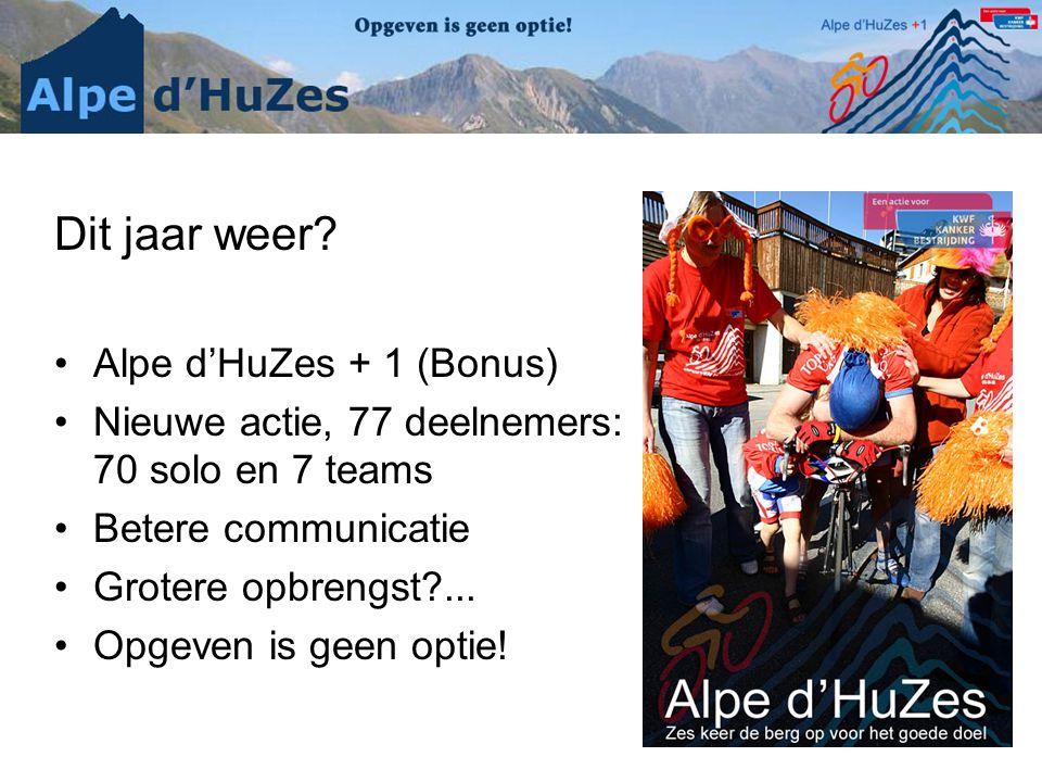Dit jaar weer? •Alpe d'HuZes + 1 (Bonus) •Nieuwe actie, 77 deelnemers: 70 solo en 7 teams •Betere communicatie •Grotere opbrengst?... •Opgeven is geen