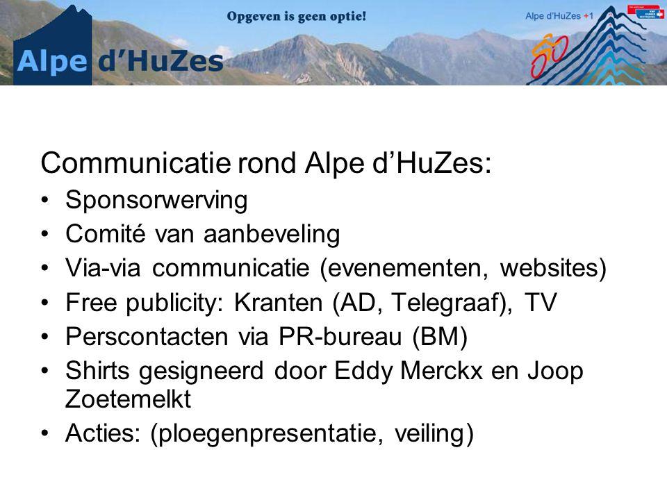 Communicatie rond Alpe d'HuZes: •Sponsorwerving •Comité van aanbeveling •Via-via communicatie (evenementen, websites) •Free publicity: Kranten (AD, Telegraaf), TV •Perscontacten via PR-bureau (BM) •Shirts gesigneerd door Eddy Merckx en Joop Zoetemelkt •Acties: (ploegenpresentatie, veiling)