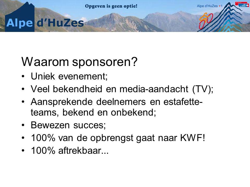 Waarom sponsoren? •Uniek evenement; •Veel bekendheid en media-aandacht (TV); •Aansprekende deelnemers en estafette- teams, bekend en onbekend; •Beweze
