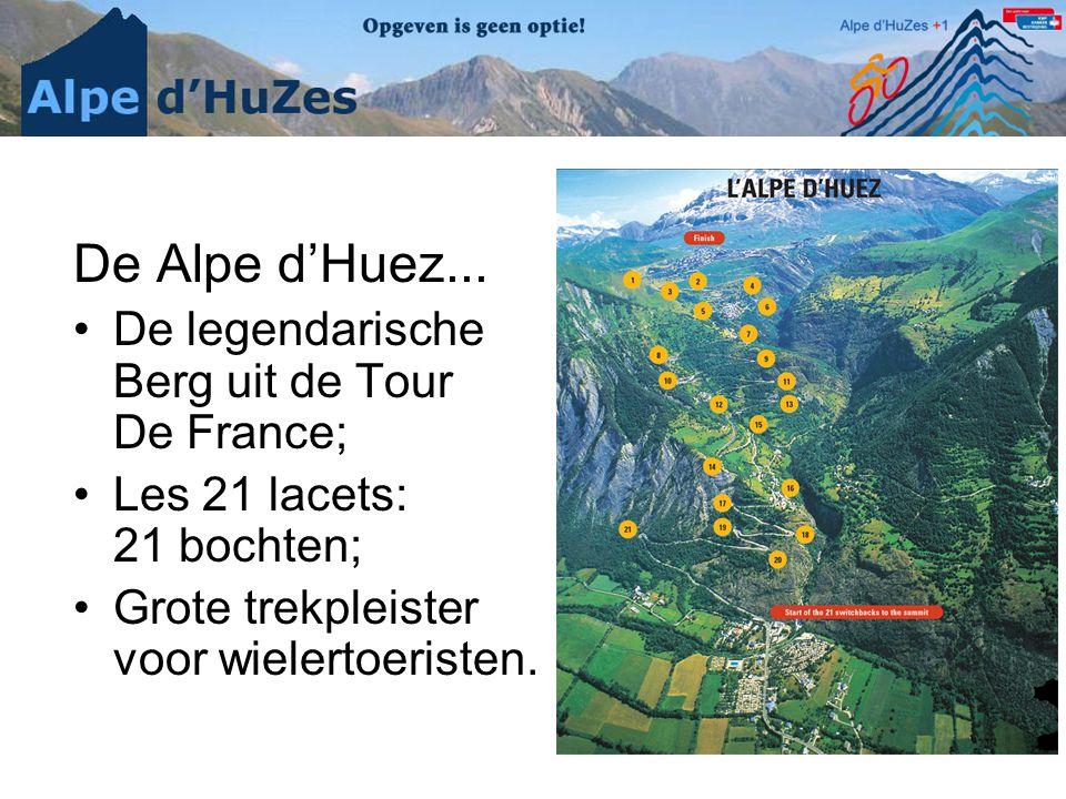 De Alpe d'Huez... •De legendarische Berg uit de Tour De France; •Les 21 lacets: 21 bochten; •Grote trekpleister voor wielertoeristen.