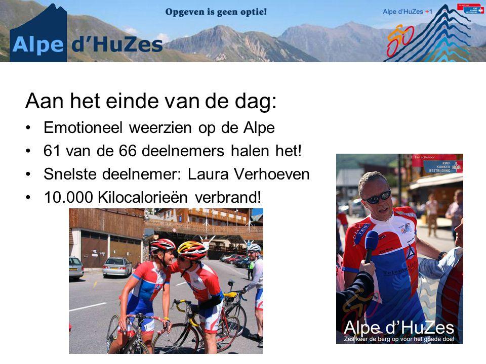 Aan het einde van de dag: •Emotioneel weerzien op de Alpe •61 van de 66 deelnemers halen het! •Snelste deelnemer: Laura Verhoeven •10.000 Kilocalorieë