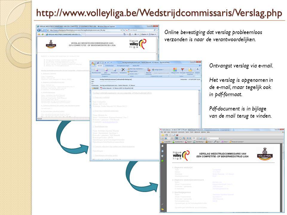 http://www.volleyliga.be/Wedstrijdcommissaris/Verslag.php Online bevestiging dat verslag probleemloos verzonden is naar de verantwoordelijken. Ontvang
