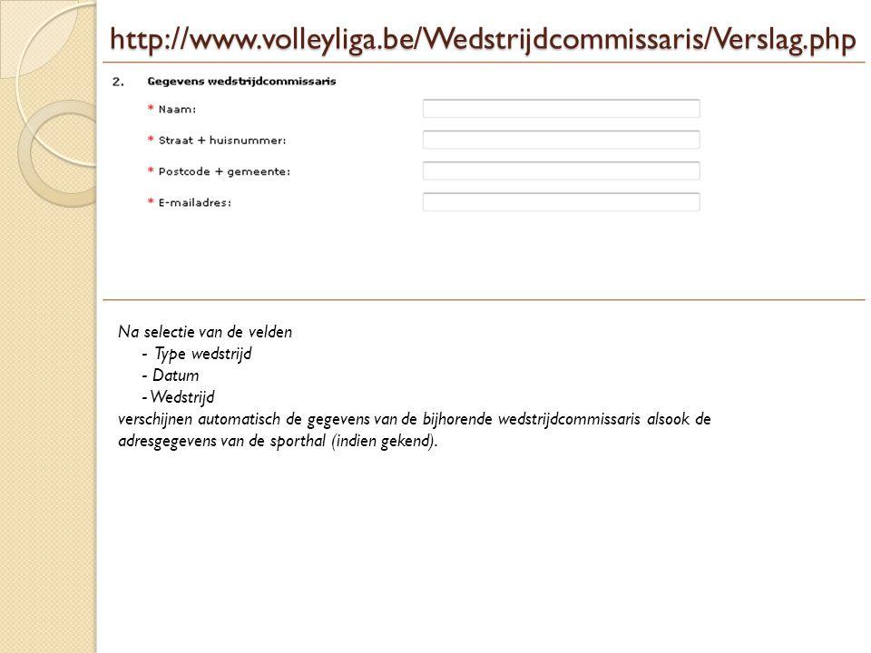 http://www.volleyliga.be/Wedstrijdcommissaris/Verslag.php De naam alsook de adresgegevens van de sporthal verschijnen automatisch nadat u een wedstrijd geselecteerd heeft.