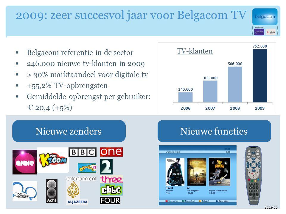  Belgacom referentie in de sector  246.000 nieuwe tv-klanten in 2009  > 30% marktaandeel voor digitale tv  +55,2% TV-opbrengsten  Gemiddelde opbrengst per gebruiker: € 20,4 (+5%) 2009: zeer succesvol jaar voor Belgacom TV Nieuwe zendersNieuwe functies Slide 20 TV-klanten