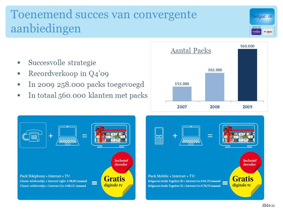 Slide 21 Toenemend succes van convergente aanbiedingen  Succesvolle strategie  Recordverkoop in Q4'09  In 2009 258.000 packs toegevoegd  In totaal 560.000 klanten met packs Aantal Packs