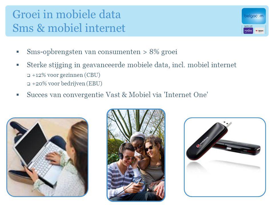  Sms-opbrengsten van consumenten > 8% groei  Sterke stijging in geavanceerde mobiele data, incl.
