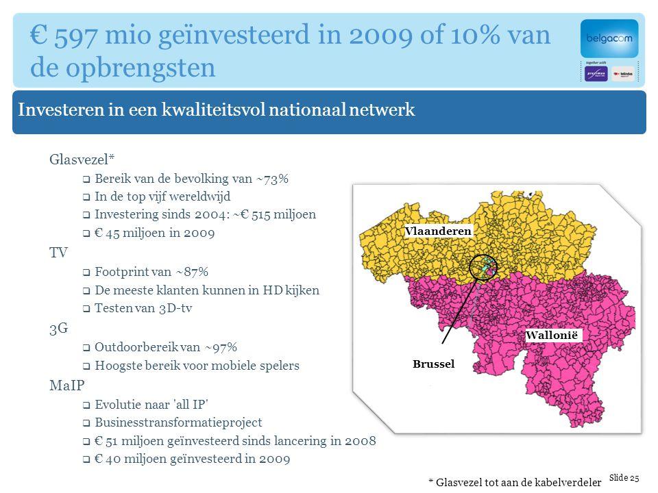 Vlaanderen Wallonië Brussel Investeren in een kwaliteitsvol nationaal netwerk € 597 mio geïnvesteerd in 2009 of 10% van de opbrengsten Glasvezel*  Bereik van de bevolking van ~73%  In de top vijf wereldwijd  Investering sinds 2004: ~€ 515 miljoen  € 45 miljoen in 2009 TV  Footprint van ~87%  De meeste klanten kunnen in HD kijken  Testen van 3D-tv 3G  Outdoorbereik van ~97%  Hoogste bereik voor mobiele spelers MaIP  Evolutie naar all IP  Businesstransformatieproject  € 51 miljoen geïnvesteerd sinds lancering in 2008  € 40 miljoen geïnvesteerd in 2009 Slide 25 * Glasvezel tot aan de kabelverdeler
