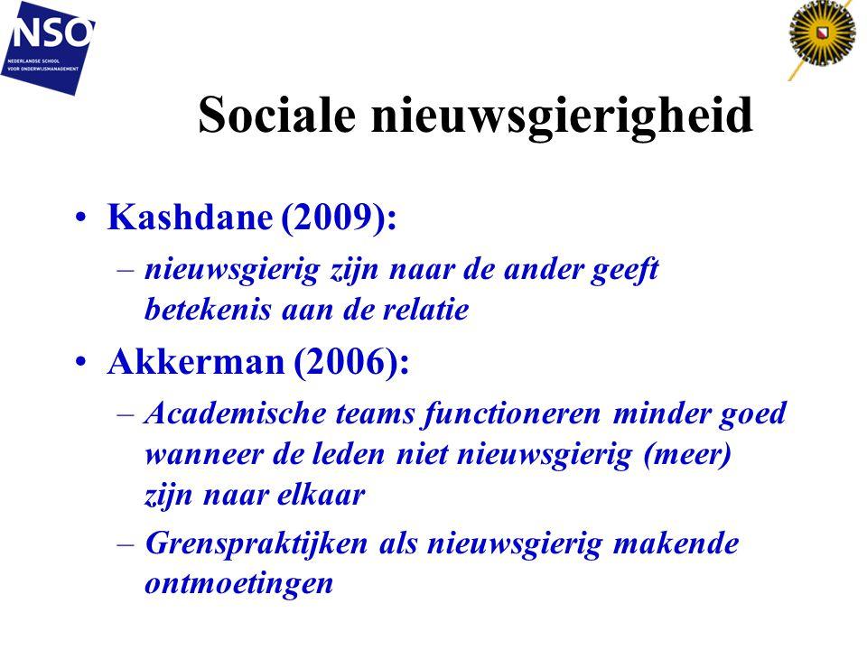 Sociale nieuwsgierigheid •Kashdane (2009): –nieuwsgierig zijn naar de ander geeft betekenis aan de relatie •Akkerman (2006): –Academische teams functi