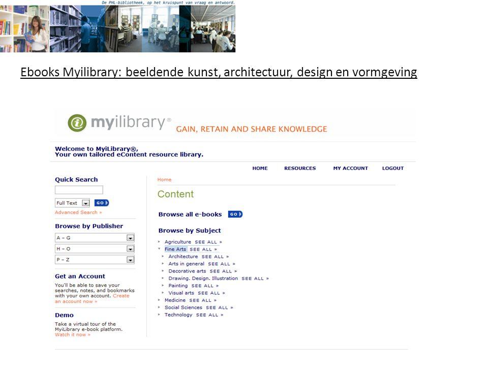 Ebooks Myilibrary: beeldende kunst, architectuur, design en vormgeving