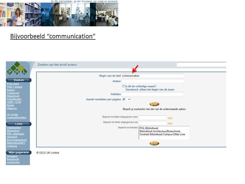 Bijvoorbeeld communication