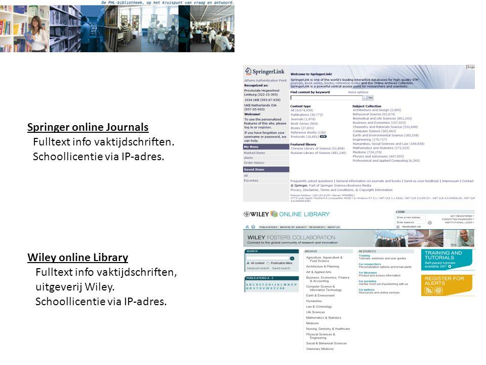 Springer online Journals Fulltext info vaktijdschriften.