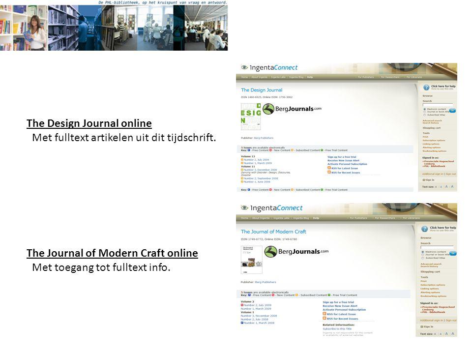 The Design Journal online Met fulltext artikelen uit dit tijdschrift.