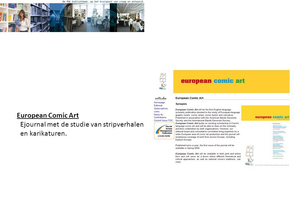 European Comic Art Ejournal met de studie van stripverhalen en karikaturen.