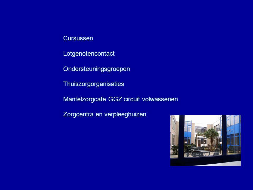 Cursussen Lotgenotencontact Ondersteuningsgroepen Thuiszorgorganisaties Mantelzorgcafe GGZ circuit volwassenen Zorgcentra en verpleeghuizen