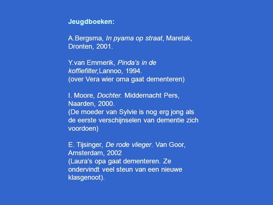 Literatuurlijst H. Anifantakis en J. Tyler, Jezelf vergeten. Bruna, Utrecht, 2002. (het gevecht van een gezin met de ziekte van Alzheimer) M. Blom en