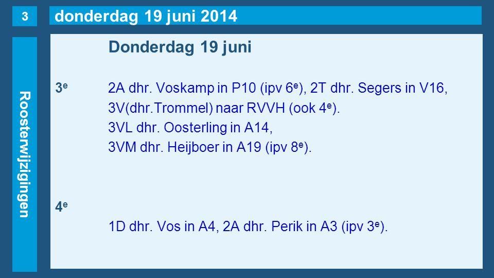 donderdag 19 juni 2014 Roosterwijzigingen Donderdag 19 juni 3 e 2A dhr. Voskamp in P10 (ipv 6 e ), 2T dhr. Segers in V16, 3V(dhr.Trommel) naar RVVH (o