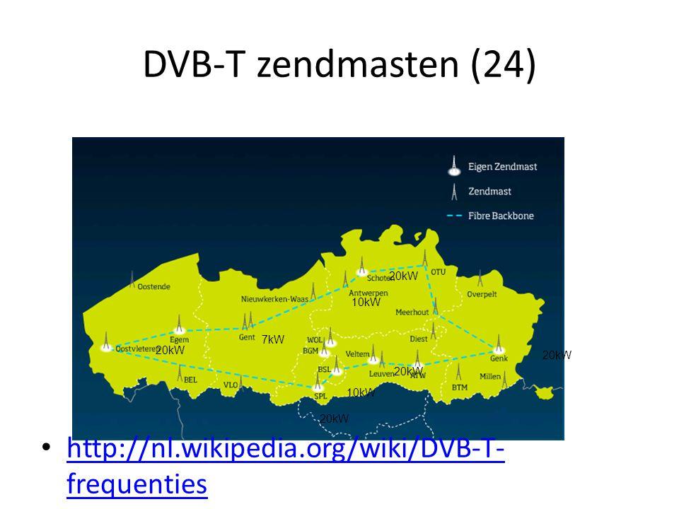 DVB-T zendmasten (24) 7kW 20kW 10kW 20kW 10kW • http://nl.wikipedia.org/wiki/DVB-T- frequenties http://nl.wikipedia.org/wiki/DVB-T- frequenties