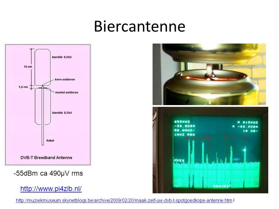 Biercantenne -55dBm ca 490µV rms http://www.pi4zlb.nl/ http://muziekmuseum.skynetblogs.be/archive/2009/02/20/maak-zelf-uw-dvb-t-spotgoedkope-antenne.htmhttp://muziekmuseum.skynetblogs.be/archive/2009/02/20/maak-zelf-uw-dvb-t-spotgoedkope-antenne.htm l