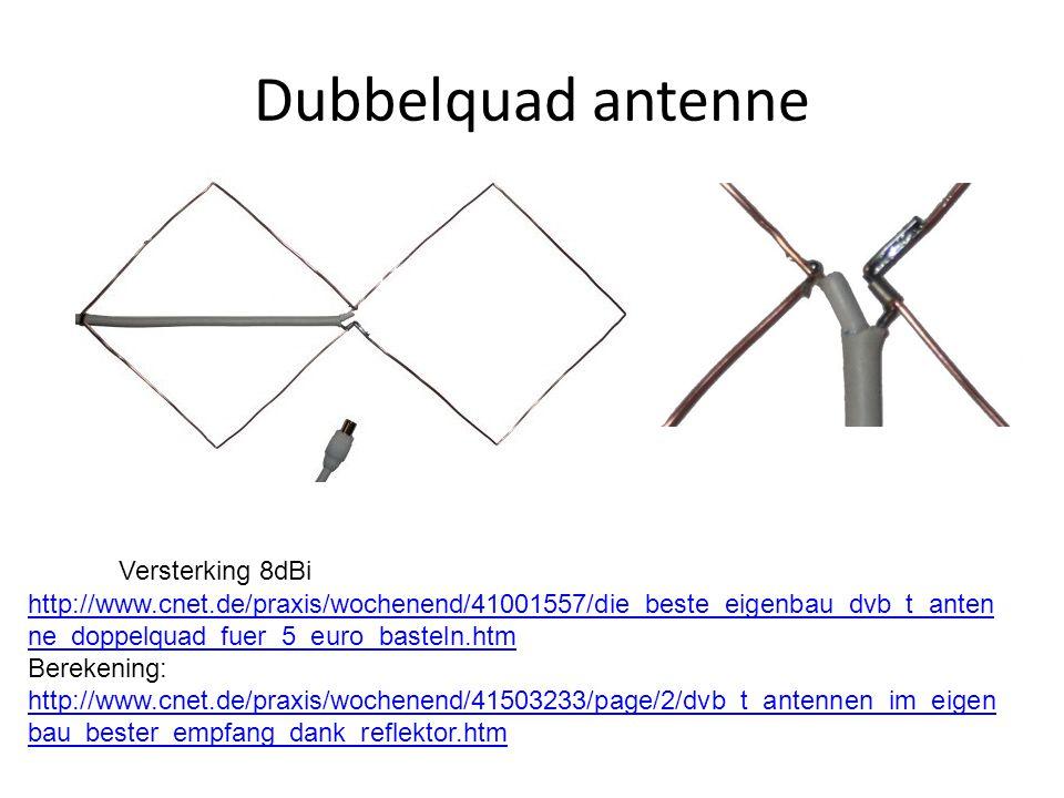 Dubbelquad antenne http://www.cnet.de/praxis/wochenend/41001557/die_beste_eigenbau_dvb_t_anten ne_doppelquad_fuer_5_euro_basteln.htm Berekening: http://www.cnet.de/praxis/wochenend/41503233/page/2/dvb_t_antennen_im_eigen bau_bester_empfang_dank_reflektor.htm http://www.cnet.de/praxis/wochenend/41503233/page/2/dvb_t_antennen_im_eigen bau_bester_empfang_dank_reflektor.htm Versterking 8dBi