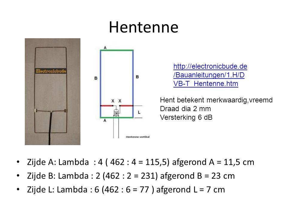 Hentenne • Zijde A: Lambda : 4 ( 462 : 4 = 115,5) afgerond A = 11,5 cm • Zijde B: Lambda : 2 (462 : 2 = 231) afgerond B = 23 cm • Zijde L: Lambda : 6 (462 : 6 = 77 ) afgerond L = 7 cm http://electronicbude.de /Bauanleitungen/1.H/D VB-T_Hentenne.htm Hent betekent merkwaardig,vreemd Draad dia 2 mm Versterking 6 dB