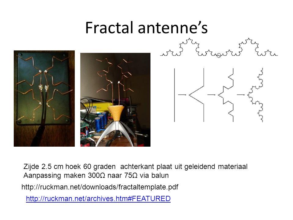 Fractal antenne's http://ruckman.net/archives.htm#FEATURED http://ruckman.net/downloads/fractaltemplate.pdf Zijde 2.5 cm hoek 60 graden achterkant plaat uit geleidend materiaal Aanpassing maken 300Ω naar 75Ω via balun